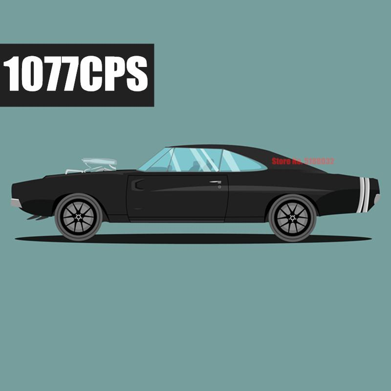 New 1077PCS Motorzied RC Muscle Car Dodged Supercar Chargers Technic Model Kits Building Blocks Bricks Toy Kid Gift Boys 1008