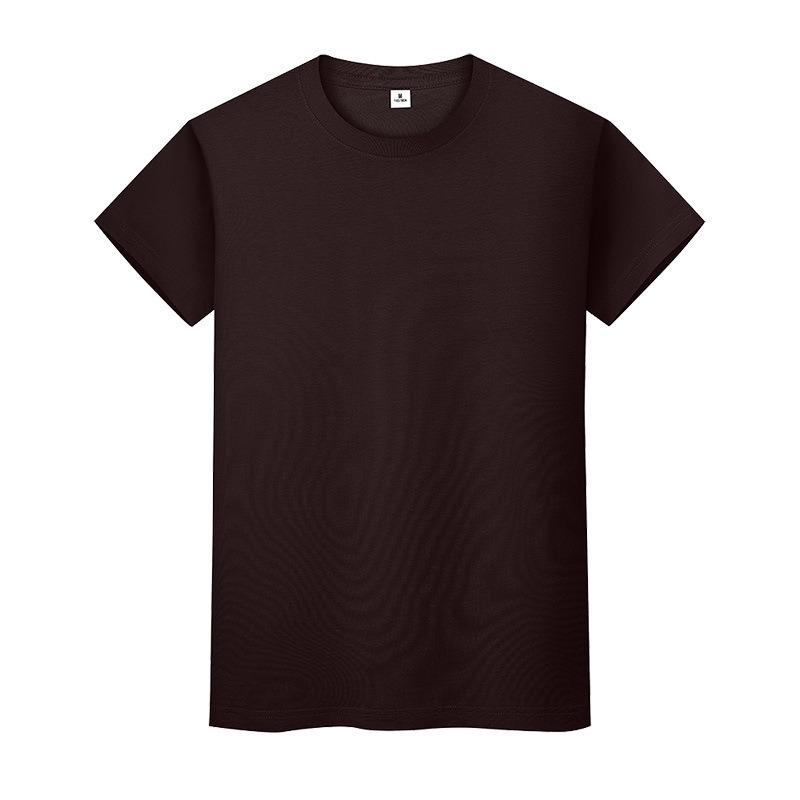 New Round Neck Color Sólido T-shirt de fundo de algodão de verão Camisa de mangas curtas Mens de mangas curtas e mulheres meio manga iizf