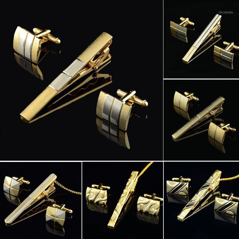 Altın Kravat Klipsi ve Kol Düğmesi Erkekler Için Set Klasik Metre Kravat Klipler Kol Düğmeleri Setleri Bakır Bar Altın Yaka Pin Jewelry1