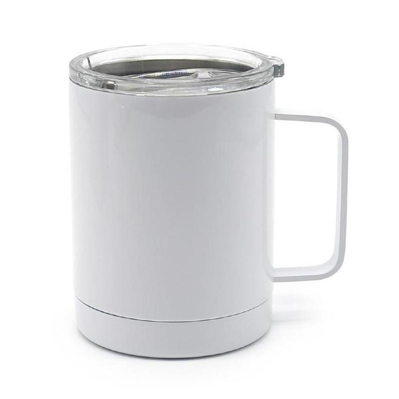 10OZ Sublimation Coffee Mug with Handle Blank Thermal Transfer Tumbler Stainless Steel Drinking Cup fast shipping