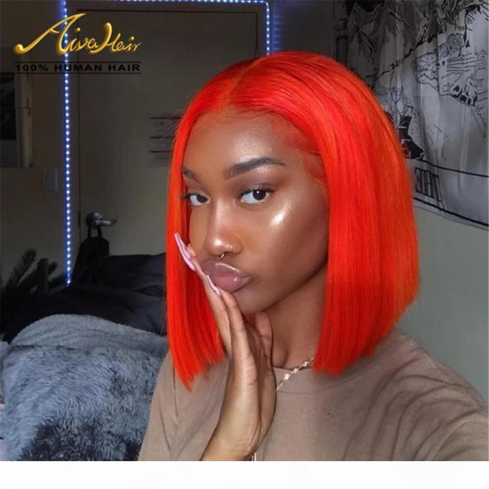 % 150 Yoğunluk Portakal Kısa BOB Düz Remy Saç Tam Dantel Peruk Öncesi Mızraplı Satine Brezilyalı Virgin İnsan Saç Peruk