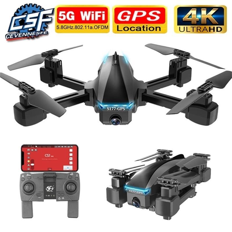 Neue S177 DRONE GPS 4K 5G WiFi HD Weitwinkel Dual Camera FVP-Drohnen 20min RC-Entfernung 600m Quadcopter Höhe Halten Sie Flug 201221