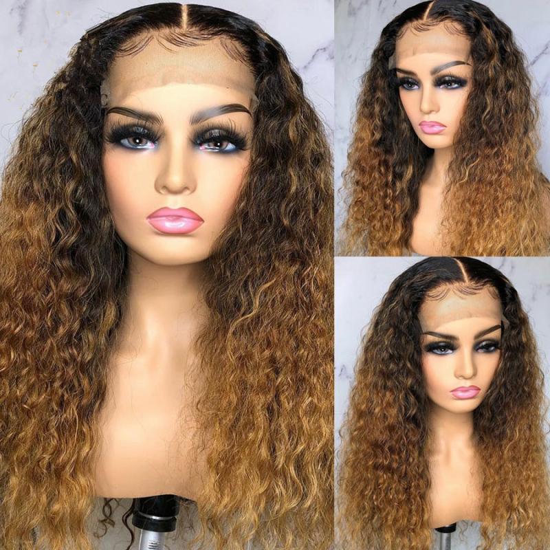 Frente del cordón de la miel rubia peluca Pre desplumados con el pelo rubio del bebé Ombre peluca del pelo humano de Remy del pelo para las mujeres