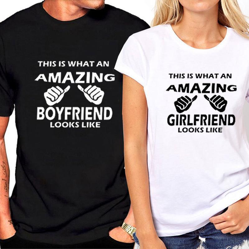 2020 Casual Tops Coppia di abbinamento femminile T-shirt per amanti T-shirt femminile femminile Estate coppie vestiti Valentino regalo