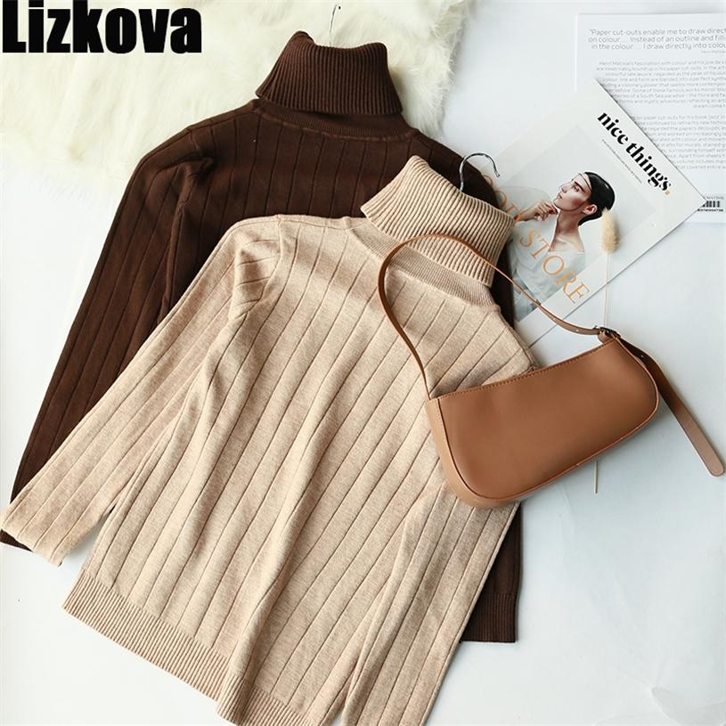 Lizkova inverno inverno dolcevita maglione sottile maglione donna a maniche lunghe a maniche lunghe morbida maglia pullover Tops 201223