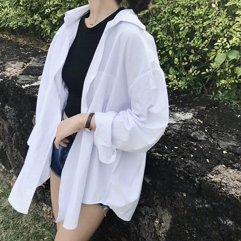 Новое прибытие женщины втулок Негабаритного Хлопок Белая кнопка рубашка воротник отложной вверх Basic Блуза