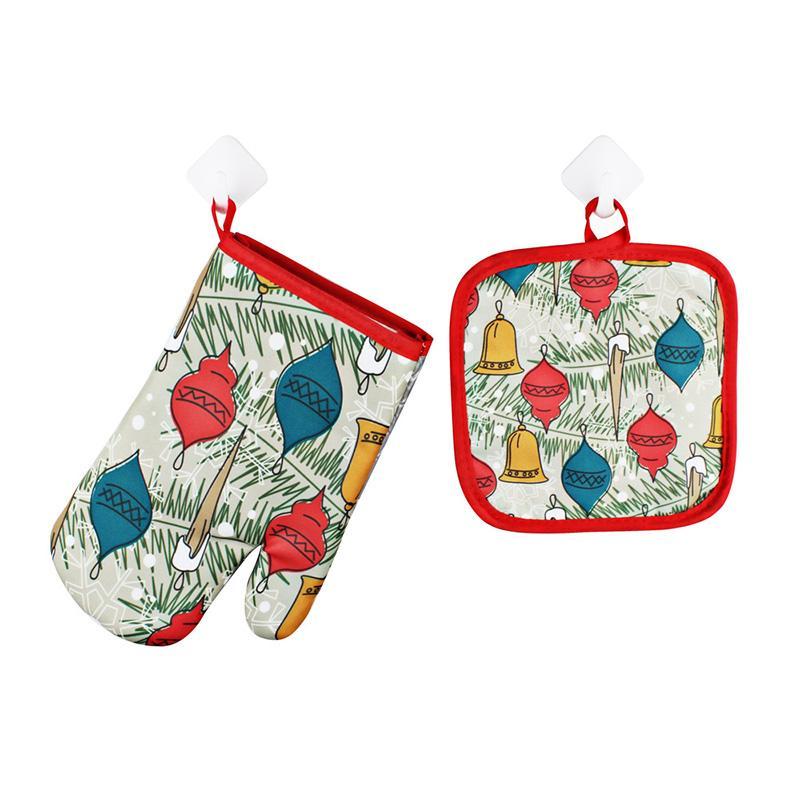 Gants de cuisson de Noël 2pcs / set Décoration de Noël pour la maison de Noël 2020 Ornement Cadeau Nouvel An Cadeau de Noël AAF2831
