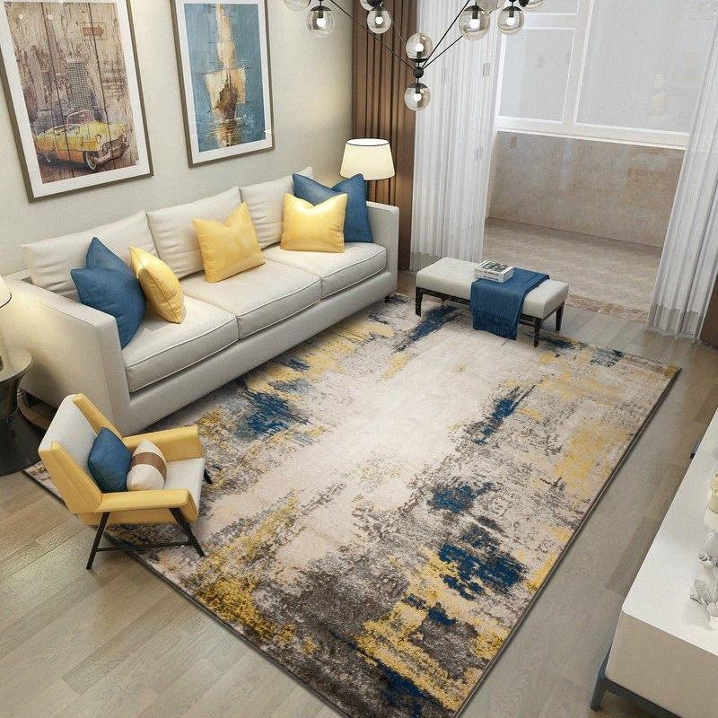 Tapetes abstratas para sala de estar Home Decor Quarto Tapete Sofa Coffee Table Tapete de Chão Grosso sala de estudo Mat Nordic Villa Tapetes Rflj #