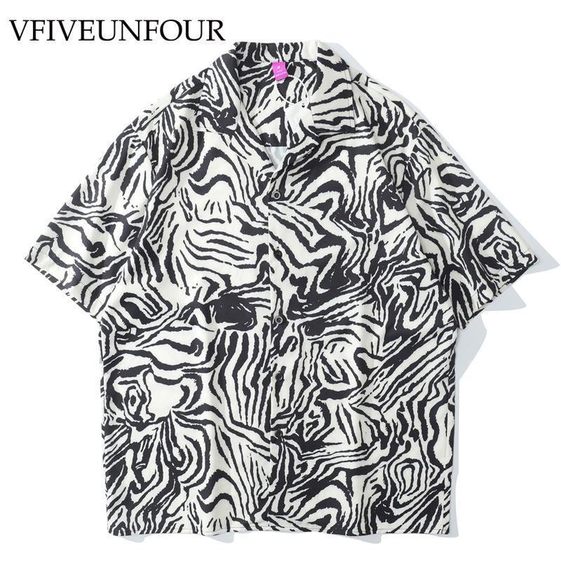 Camicie casual da uomo VFIVE UNFIVE HARAJUKU Zebra Pattern Digital Printing Digital Style Style Oversized Camicia a manica corta da uomo High Street Estate