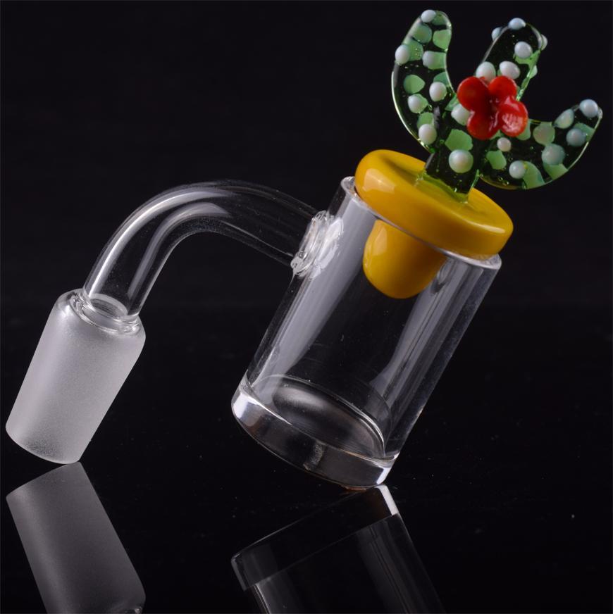 Top plat 5 mm d'épaisseur quartz banger clou avec verre de canard de cactus jaune de couleur jaune 10mm 14mm 18mm pour tuyaux d'eau en verre bongs