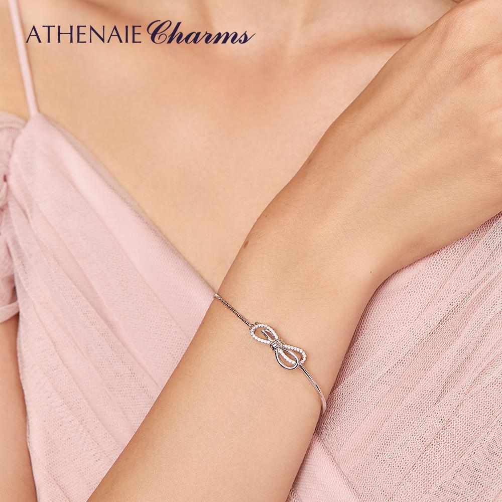 ATHENAIE genuino argento 925 CZ libera Sparkling Bow Slider Bracciali per le donne Party Girl monili di cerimonia nuziale Accessori 1028