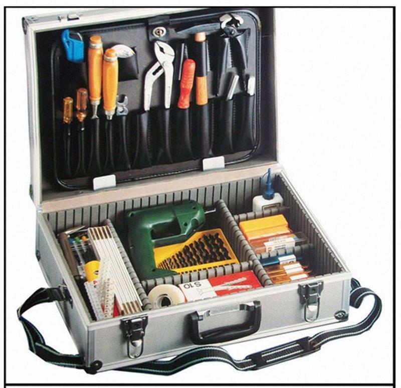 Большое алюминиевый ящик для инструмента серебро Углового алюминиевый корпуса инструментария металлического набора инструментов с палитрой с регулировкой вставки PDZd #