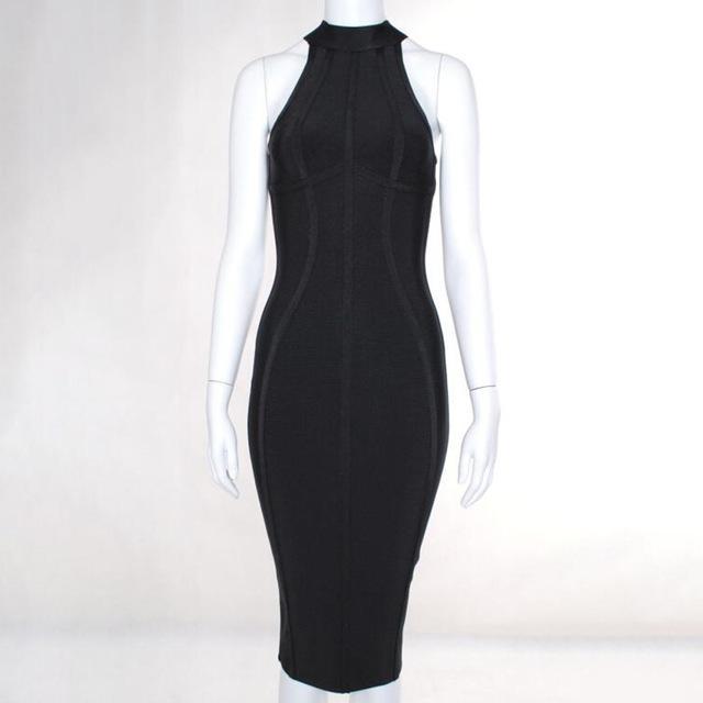 2020 Сексуальные женщины Белый бинты платье Новые поступления Полосатый Midi Bodycon платья без рукавов Clubwear платье партии Vestidos