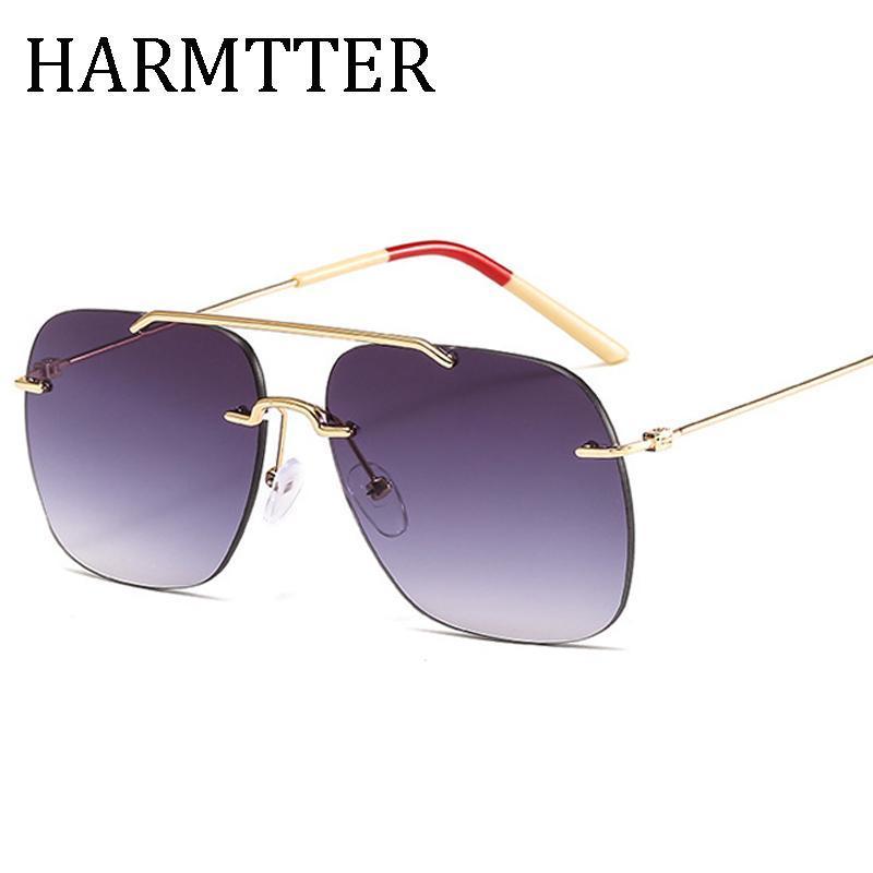 2020 Vintage luxe classique femmes sans monture au volant carré Brand Design Lunettes de soleil Oculos lentille gradient de haute qualité 1833
