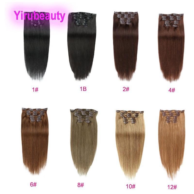 Clip brasiliano vergine 100% clip per capelli umani nelle estensioni dei capelli 1 # 1b 2 # 4 # 6 # 8 # 10 # 12 colori dritto 14-24 pollici capelli remy