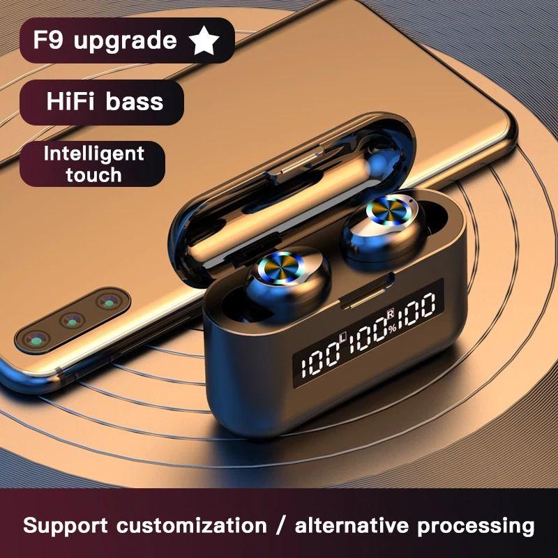 무선 TWS 블루투스 5.0 마이크와 함께 상자 무선 이어폰을 충전 이어폰 방수 헤드셋 하이파이 스테레오 이어폰 2000MAH