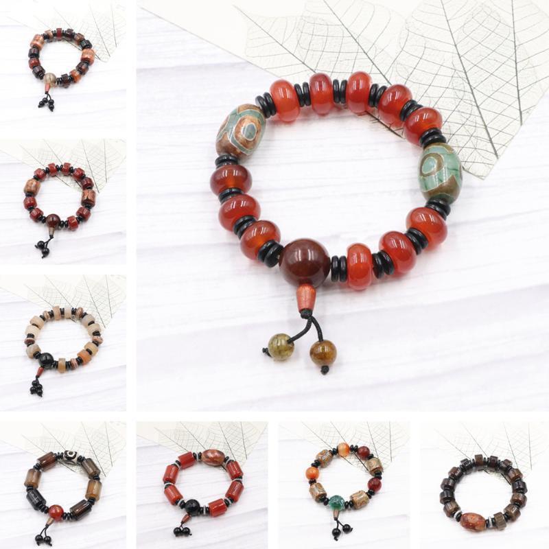 Charm Bracelets 8 Style Natural Stone Agates Beads Handmade String Bangle Wristband Prayer Lucky Vintage Jewelry 19cm B3391