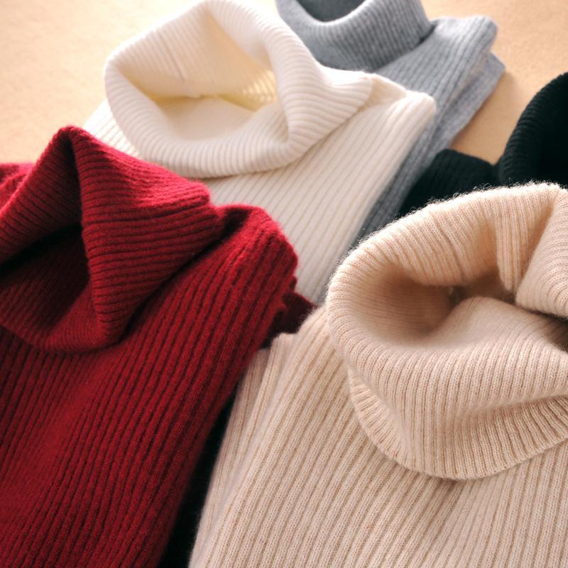 Largas suéteres de las mujeres y acanalado Jumper informal con capucha elástico de las mujeres de cuello alto suéter de cachemira de Lady para el otoño invierno