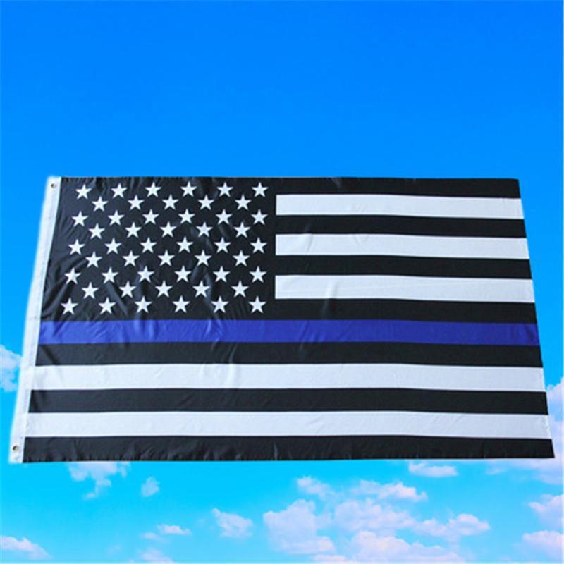 Thin Blue Line Flag American Police Flags 3x5FT USA Allgemeine Wahlen Land Banner für Trump Fans