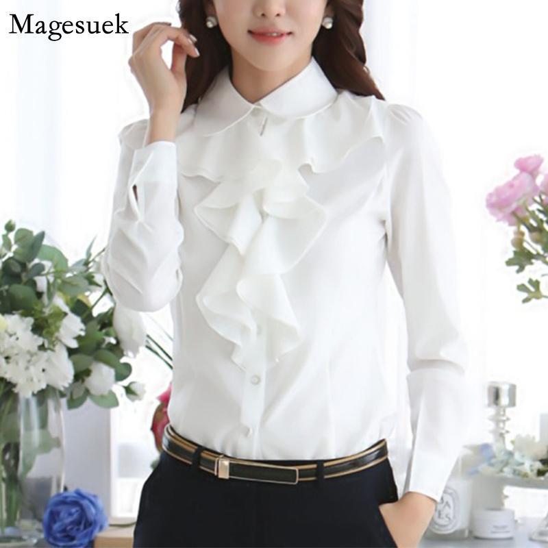 Bahar Uzun Kollu Ruffles Şifon Beyaz Bluz Kadınlar Katı Casual Kadın Bluzlar Gömlek Düğme Ofis Bayanlar Tops Blusas 8C81