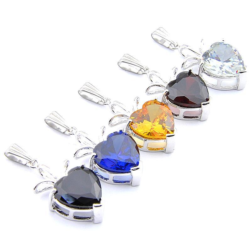 Mix 5PCS arc-en-New Luckyshine 925 coeur en argent sterling Grenat Péridot pierres précieuses Onyx Citrine Noir Colliers Pendentifs Pour Party Lady Gift