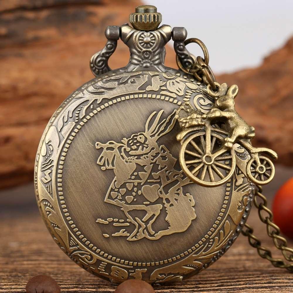 Alice de bronze em Wonderland Bonito Coelho Quartzo Bolso Relógio Pingente Colar Chain Relógio Meninas Crianças Presentes com Carrossel Acessório