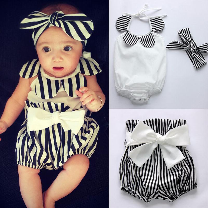 Clothing Sets Baby & Children's Clothes Toddler Girl Romper Tops+Striped Shorts Bottoms+Head Band 3PCS Outfits Sunsuit 0-24M