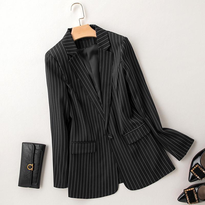 New Plus Size 7XL mulheres Suits Brasão Negócios Primavera outono listra Blazers Jackets Magro de manga comprida Blazer Mulheres Suit 201007