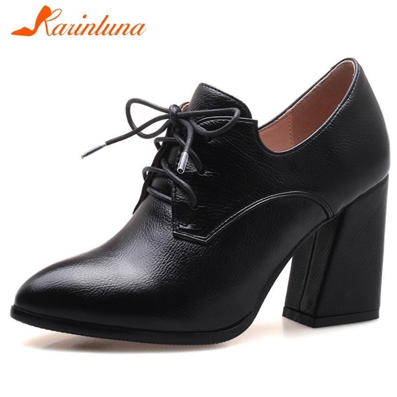 Ladies KARIN Arrefecer Sapato de bico fino Bombas lace-up vestido Bombas Mulheres Spring Mature alta casco Heels Shoes Mulher