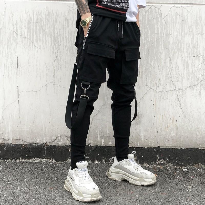 Hip Hop Joggers Men Black Harem Book Multi Pocket Lenss Sport Streetwear Cargo Broek Мужская уличная одежда