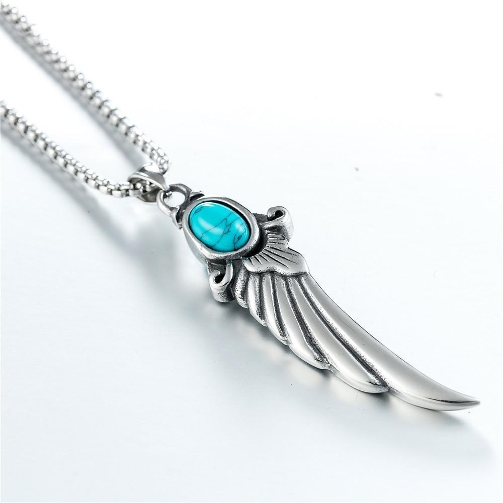 Nova guarda de moda amor série jóias para homens e mulheres.Retro azul semi - gem wing forma de aço inoxidável colar
