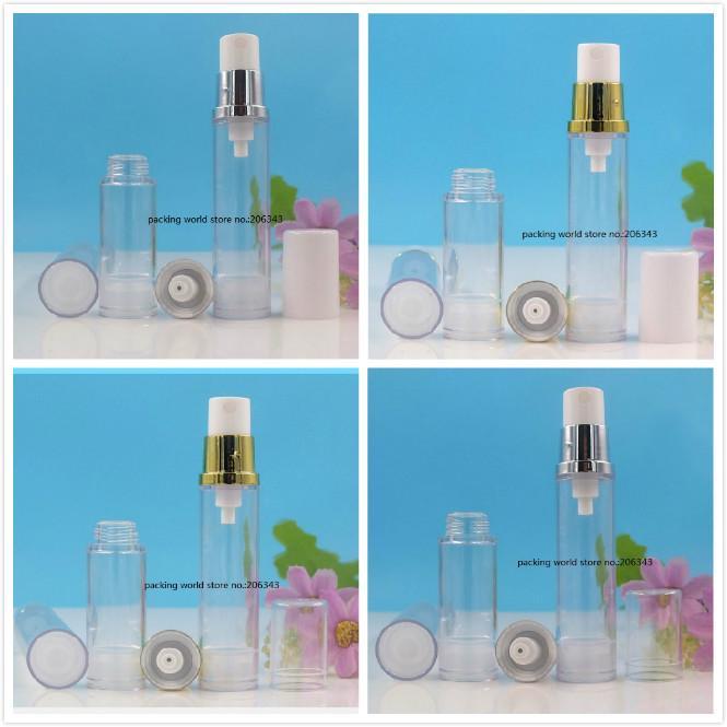 12 ml bouteille sans air transparente avec pulvérisateur doré / argent Pompe blanc / couvercle clair pour toner / toilette / eau Emballage cosmétique