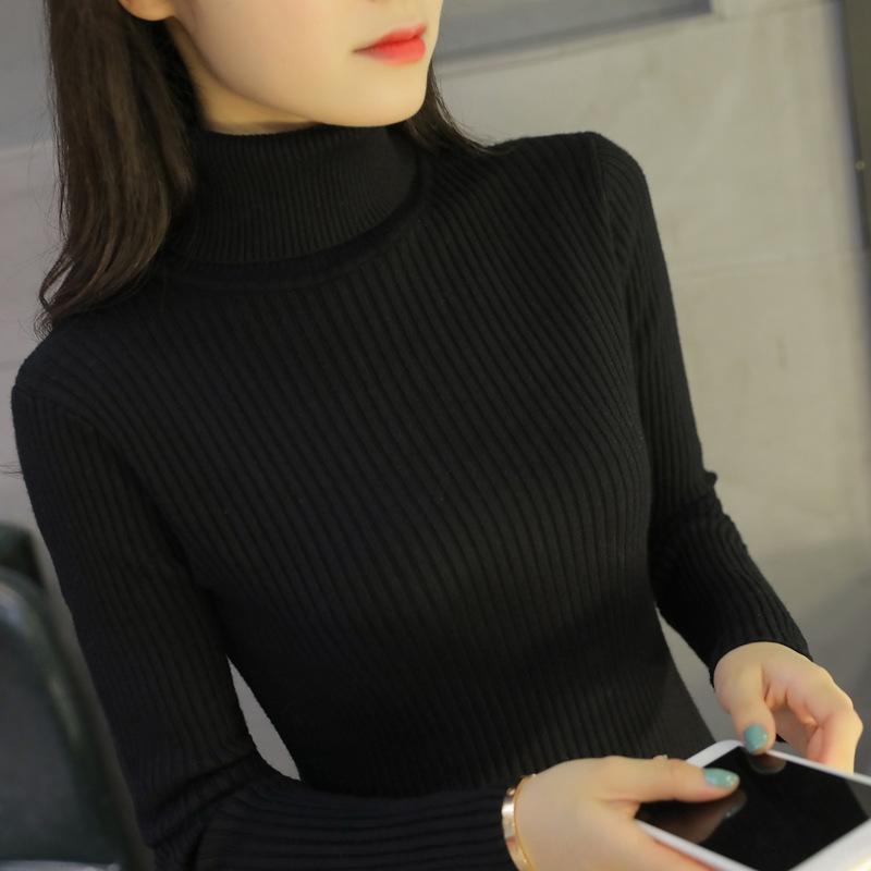 HCd5U Высокий воротник Теплый вязаный свитер пуловер knitwearsweater женской моды осень зима корейский Пуловер пассивом тонкий короткий подходят рубашки