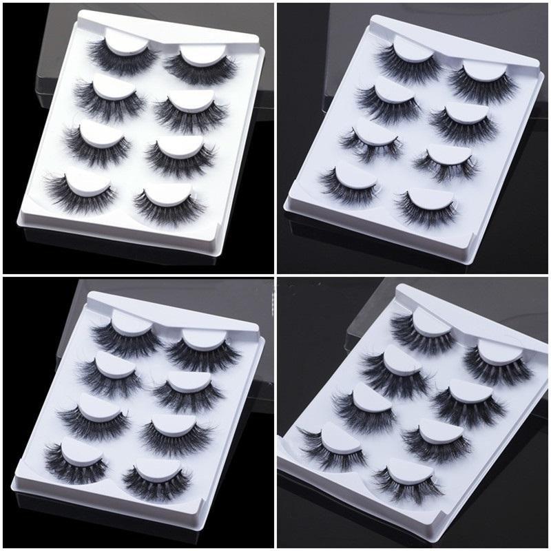 4 pares de estilos de mezcla Pestañas falsas Faux 3D Pestañas de visón Soft Soft Mully Eyelash Extensión natural Larga larga tira de pestañas Maquillaje Ojo pestañas