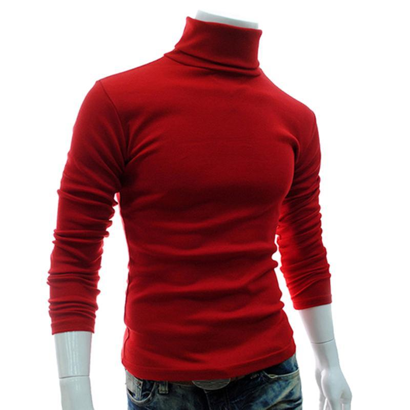 Men's Sweaters Autumn Men Solid Color Turtle Neck Long Sleeve Sweater Slim Knitted Pullover Top
