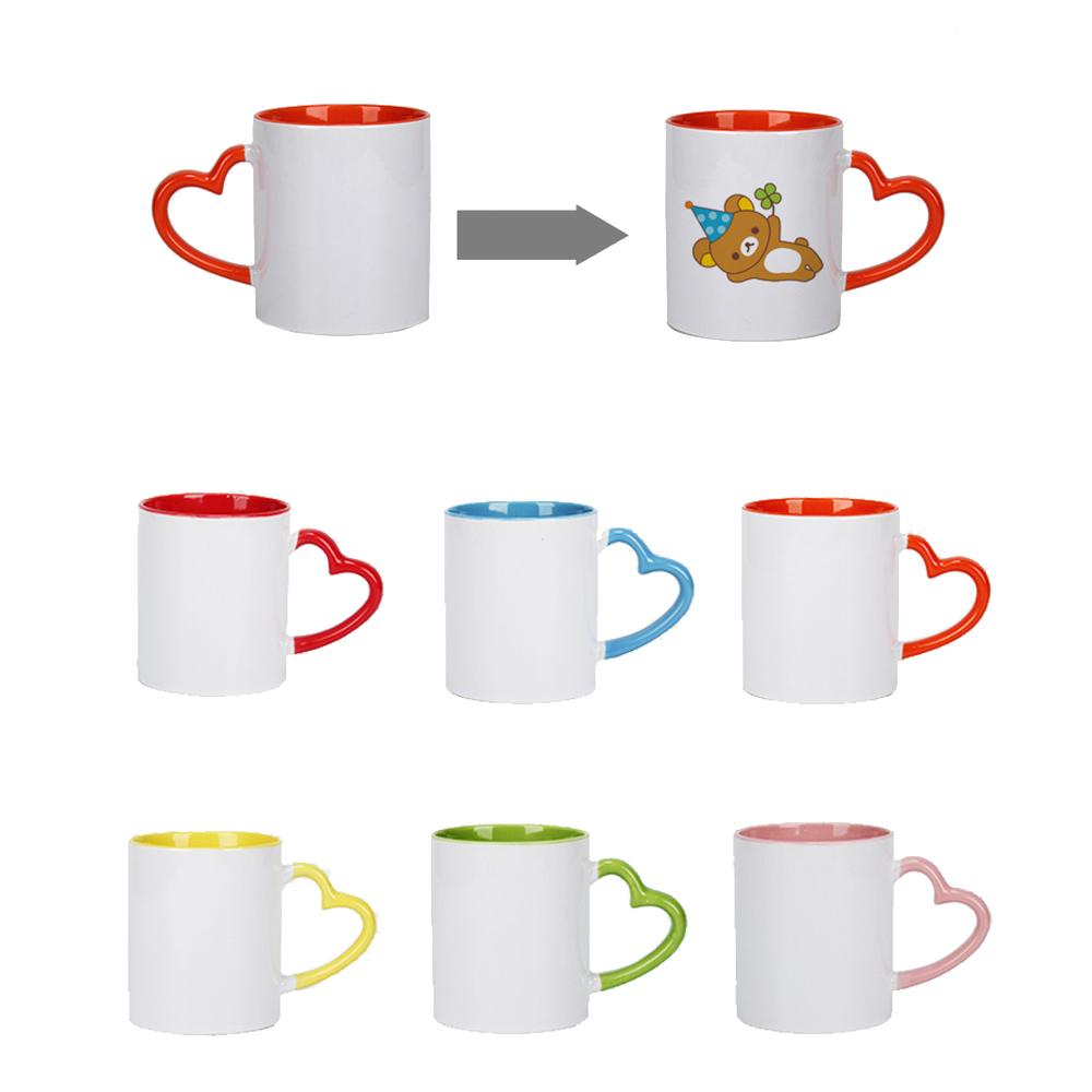 DIY Sublimation Ceramic Mug With Heart Handle 320ml White Ceramic Cups Colorful Inner Coating Creativity Coffee Cup w-00677