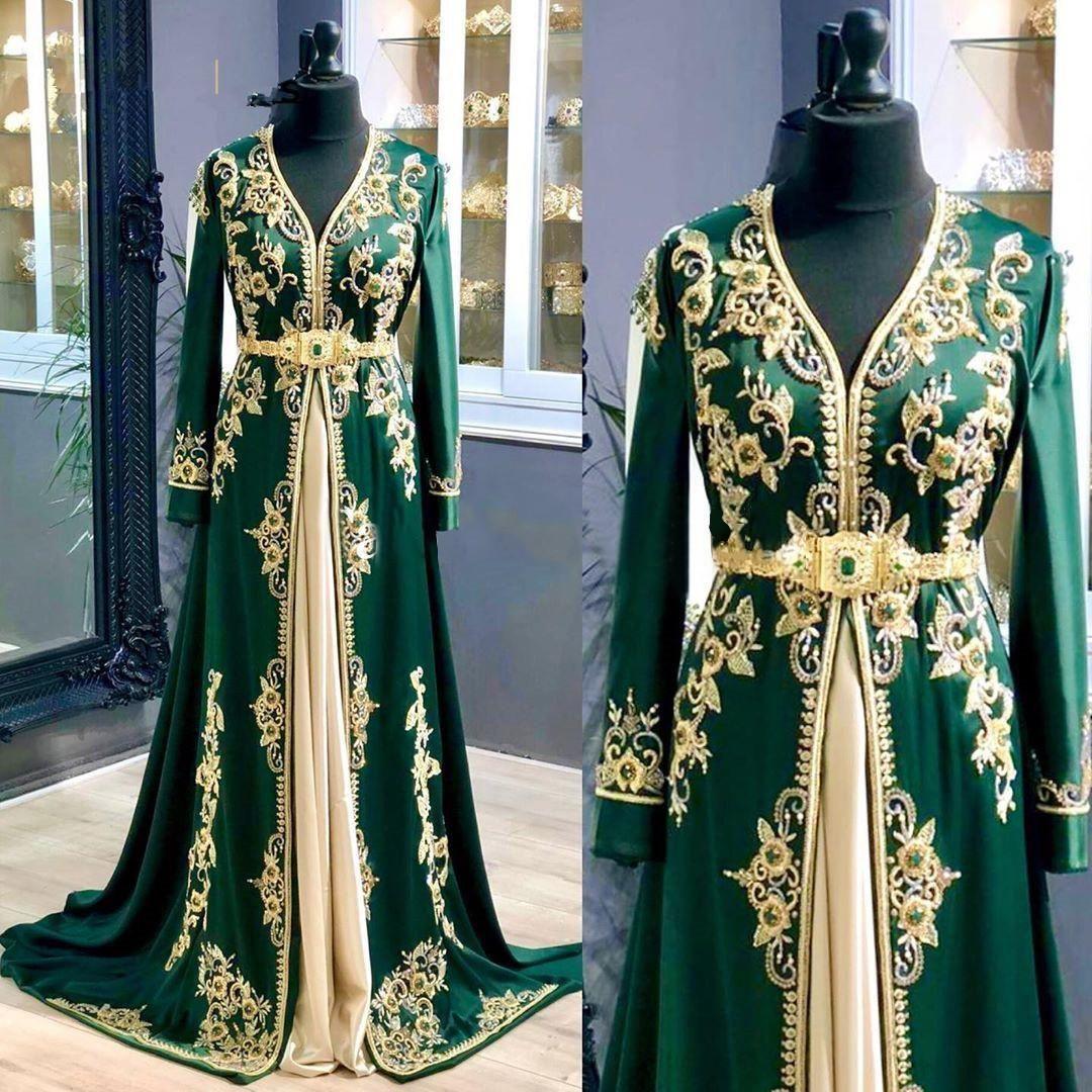 Jägergrün Langarm-Abschlussball-Kleider 2021 Luxuxspitze-Appliquestickerei marokkanische Kaftan Kaftan Anlass Abendkleider
