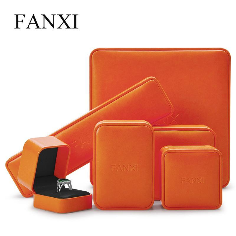 Oirlv Jewelry Box Orange PU Leather Ring Wedding Gift Box jewelry for Earring Pendant Organizer Case