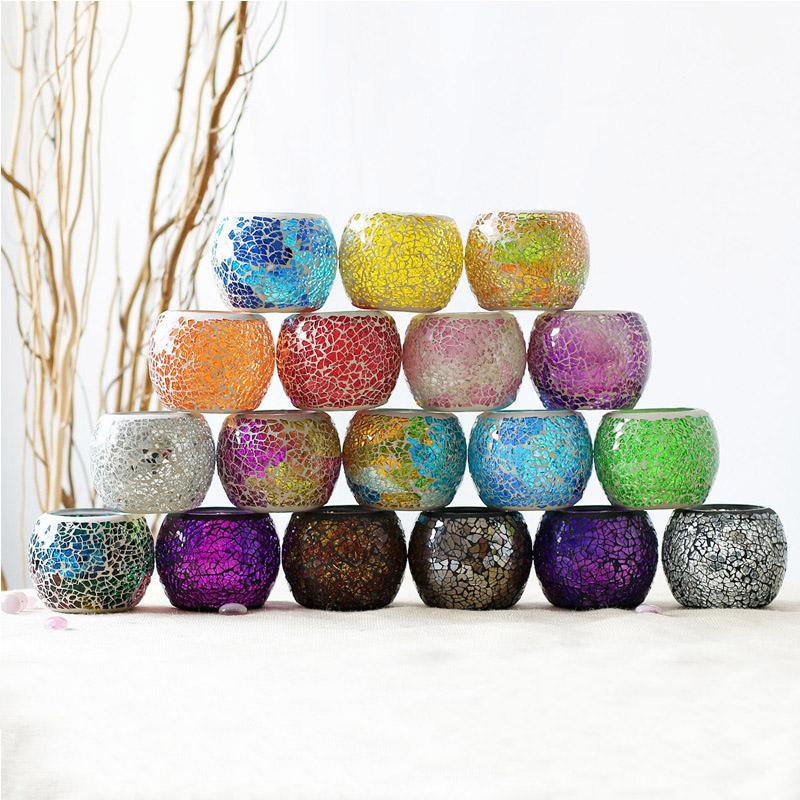 Mosaik Kerzenhalter aus Glas Kreative Farben-Kerze-Cup Home Esstisch Valentinstag Dekoration Kerzenleuchter Weihnachtsgeschenk