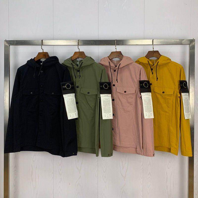2020 Nouvelle Arrivée Spring Compass Pocketd Pockets Hommes Veste High Street Vêtements Veste à capuche Manteau LJ201013