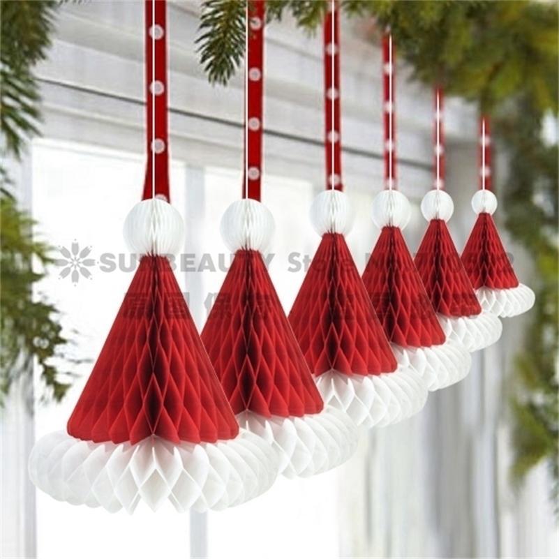 Paper 3pcs Honeycomb Santa Hats Hanging Christmas Ornament For Party Festival Decoration Y201020