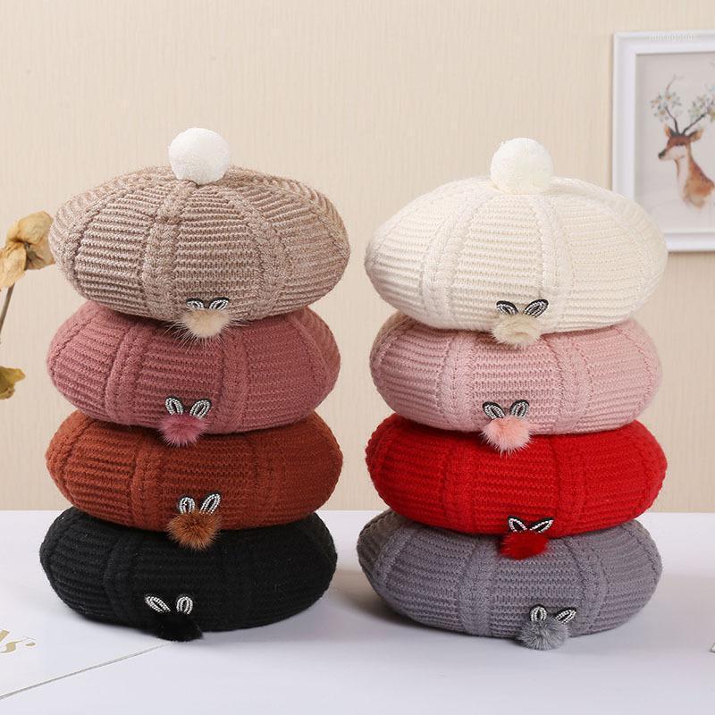 2020 elegantes señoras sombreros y gorras boina sombrero gorra mujer otoño invierno tibio capó tapa femme piel pelota lana hat1