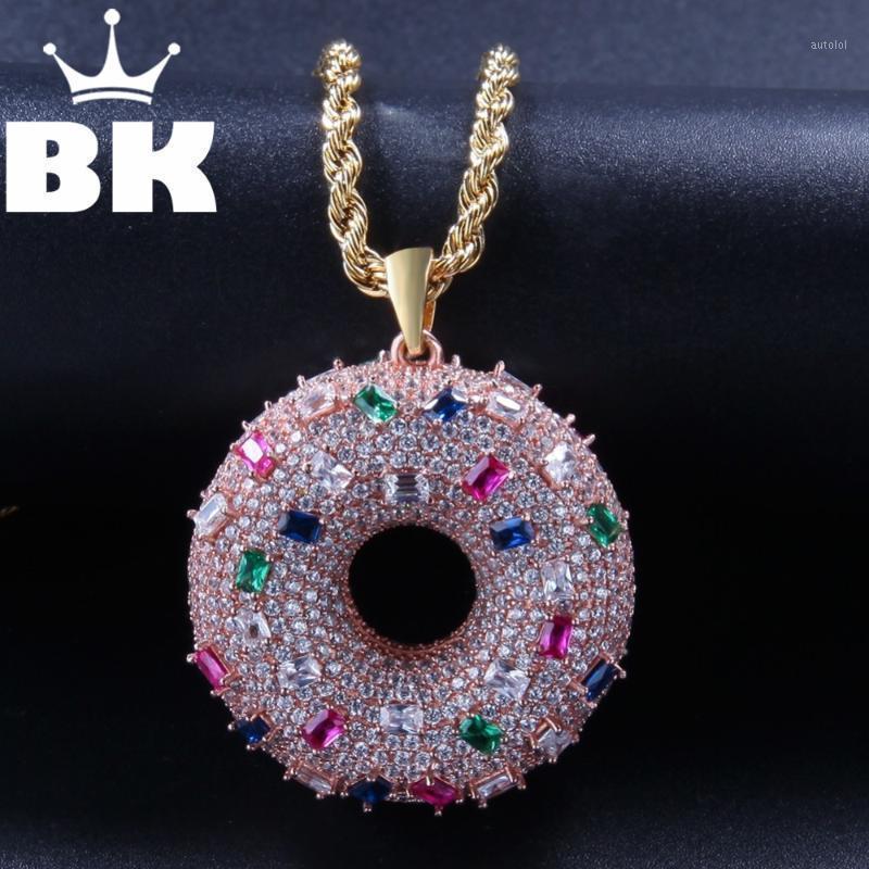 O King Bling Costume Donut Colar Hip Hop Completo Gelado Cúbico Zircônia Gold Sliver CZ Stone1