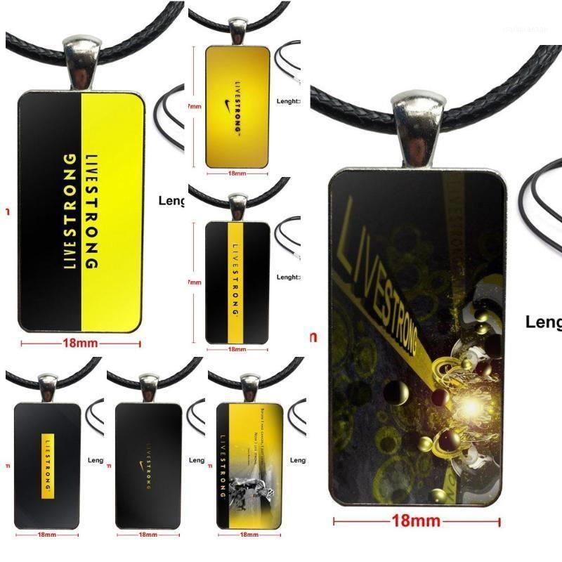 Per le donne gioielli collana moda lunga catena con gioielli di rettangolo collana per livestrongs logo1