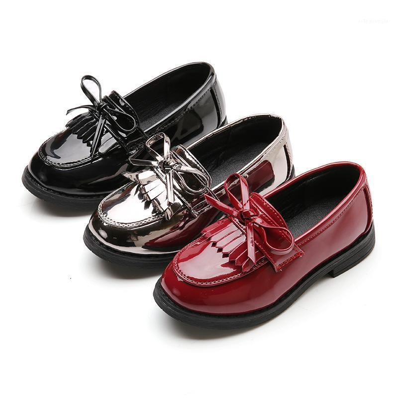 Spring Autumn New Children leather shoes bowknot casual kids shoes girls Dance Student black Leather 3 4 5 6 7 8 9-12years1