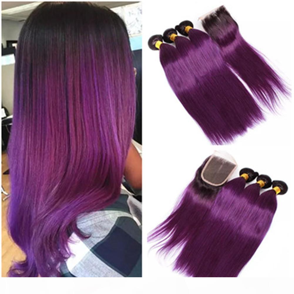 Droit Violet Ombre 4x4 avant Fermeture avec dentelle 3Bundles 4Pcs Lot Deux Tons 1B Violet Ombre Vierges malaisiennes Tissages cheveux avec dentelle fermeture