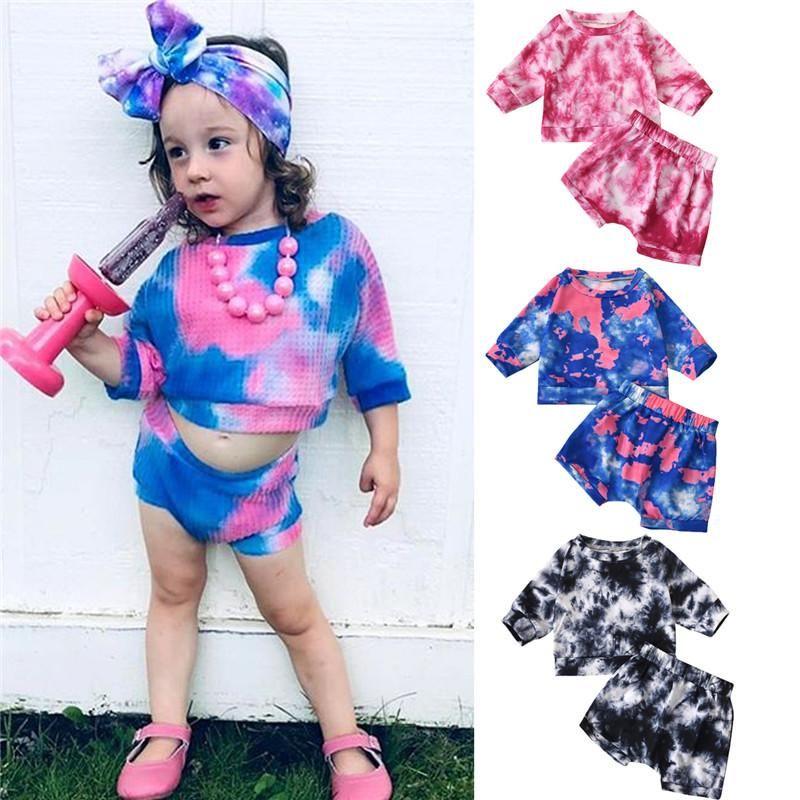 2 unids Baby Girls Boys Outfit Summer Otoño Simple Style Tie Dye Pijama Set Redondo Cuello Manga larga Flojo Top + Casual Shorts