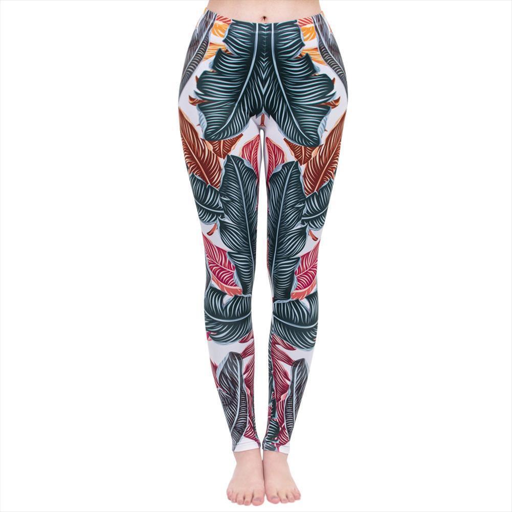 Moda Kadınlar Legging Yapraklar Printing leggins Yüksek Bel Punk Tozluklar Workou Legins İnce Spor Pantolon Soğuk