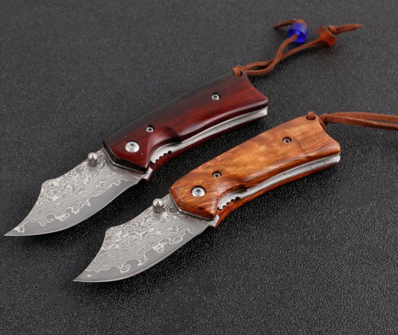 Yüksek Kaliteli VG10 Şam Çelik Katlanır Bıçak Bıçak Gülağacı + Çelik Sac Kolu EDC Cep Bıçaklar Ile Naylon Çanta
