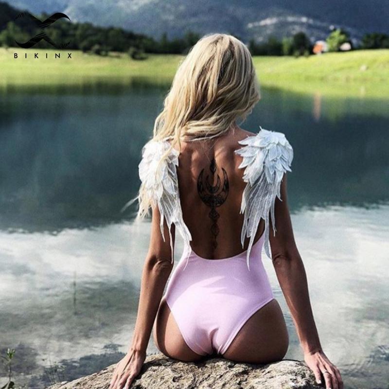 Bikinx Nakış Kanat Kadın Mayo Tek Parça Bikini 2019 Yeni Aile Eşleştirme Mayo Seksi Mayo Kadınlar Çocuklar Bikini XL W1221